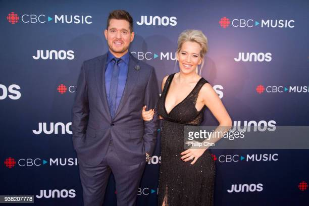 Juno Host Michael Buble and his wife Luisana Lopilato attend the red carpet arrivals at the 2018 Juno Awards at Rogers Arena on March 25 2018 in...