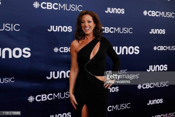 Juno host Sarah McLachlan arrives on the red carpet for the Juno Music Awards at Budweiser Gardens in London Canada March 17 2019