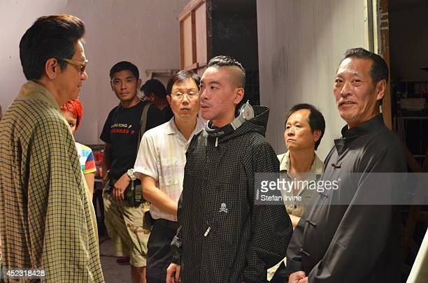 Juno Mak centre Anthony Chan left and Fat Chung on the Hong Kong film set of Rigor Mortis a horror film about vampires The film is Mak's directorial...