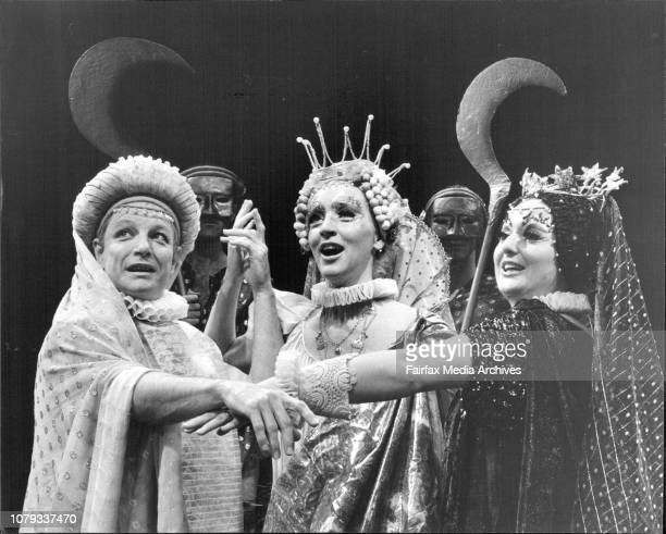 Juno Queen of the gods played by Barbara Farrell rehearses a scene from William Shakespeare's The Tempest the first productions by the Old Tote...
