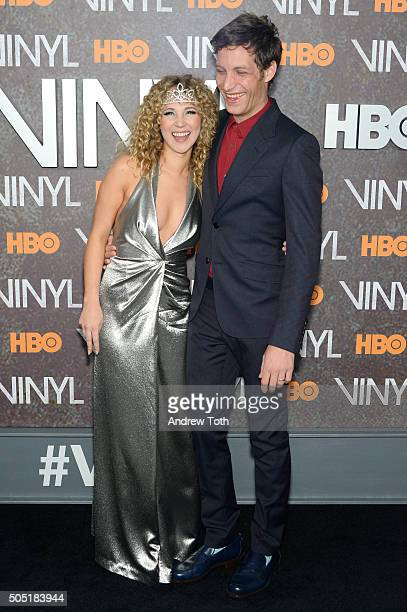 Juno Temple and James Jagger attend the Vinyl New York premiere at Ziegfeld Theatre on January 15 2016 in New York City
