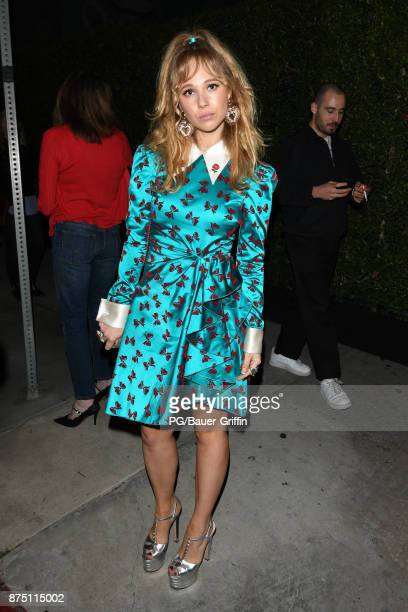 Juno Temple is seen leaving the Gucci decor party at Maxfield boutique on Melrose Ave on November 16 2017 in Los Angeles California