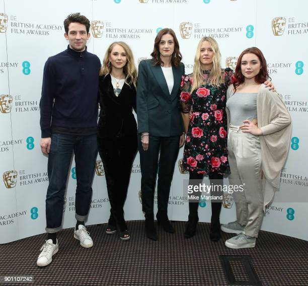 Juno Temple Josh O'Connor Amanda Berry Florence Pugh and Edith Bowman during the EE Rising Star Nominations announcement held at BAFTA on January 4...