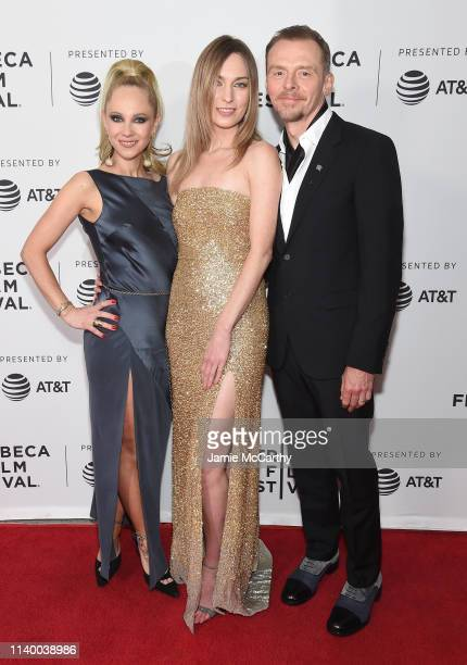 """Juno Temple, Katharine O'Brien and Simon Pegg attend the """"Lost Transmissions"""" screening during the 2019 Tribeca Film Festival at SVA Theater on April..."""