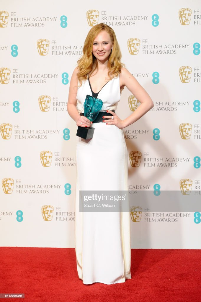 Juno Temple, winner of EE Rising Star, poses in the press room at the EE British Academy Film Awards at The Royal Opera House on February 10, 2013 in London, England.