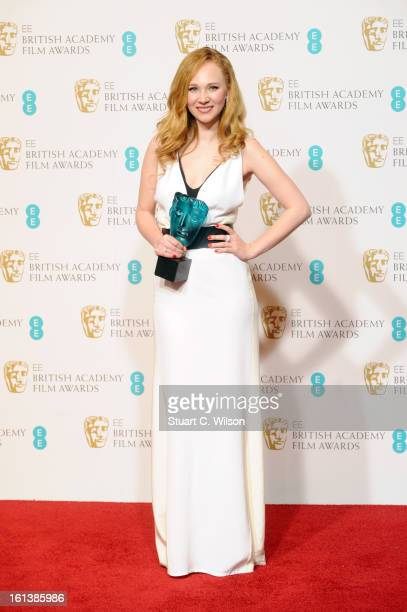 Juno Temple winner of EE Rising Star poses in the press room at the EE British Academy Film Awards at The Royal Opera House on February 10 2013 in...