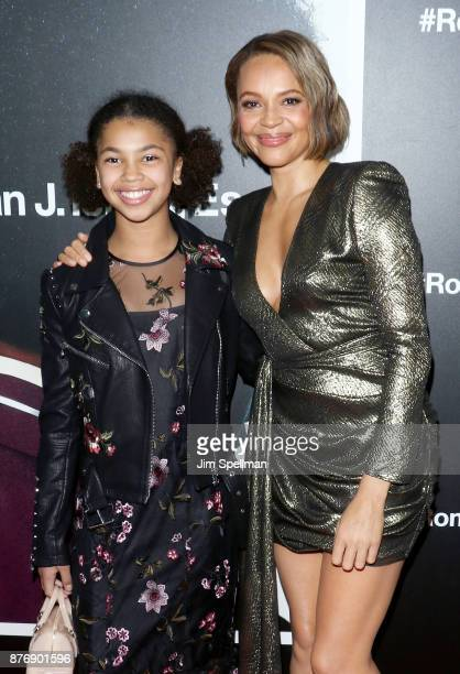 Juno Wright and actress Carmen Ejogo attend theRoman J Israel Esquire New York premiere at Henry R Luce Auditorium at Brookfield Place on November 20...