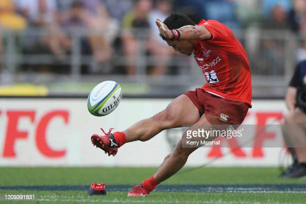 Junpei Ogura of the Sunwolves kicks a conversion during the round five Super Rugby match between the Hurricanes and the Sunwolves at McLean Park on...