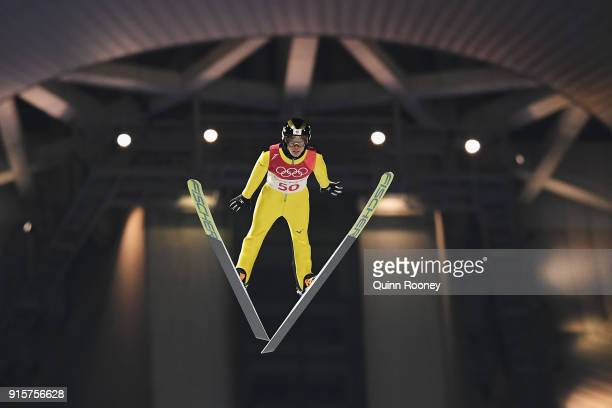 Junshiro Kobayashi of Japan competes during Men's Normal Hill Individual Qualification at Alpensia Ski Jumping Centre on February 8 2018 in...