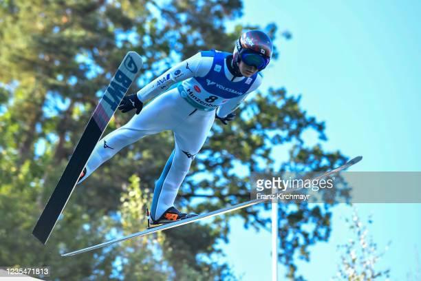 Junshiro Kobayashi of Japan competes during the FIS Grand Prix Skijumping Hinzenbach at on February 6, 2021 in Eferding, Austria.