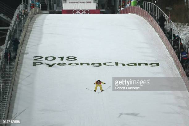 Junshiro Kobayashi of Japan competes in the Men's Normal Hill Individual Qualification at Alpensia Ski Jumping Centre on February 8 2018 in...