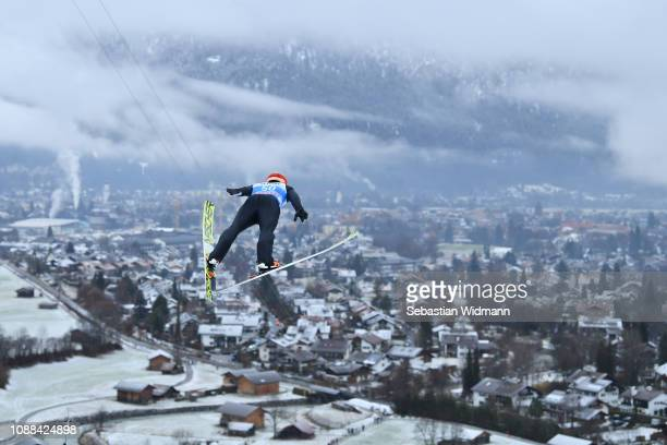 Junshiro Kobayashi of Japan competes on day 3 of the 67th FIS Nordic World Cup Four Hills Tournament ski jumping event on December 31 2018 in...