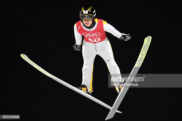 Junshiro Kobayashi of Japan in action during a training session ahead of the Ski Jumping Team competition on day nine of the PyeongChang 2018 Winter...