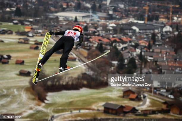 Junshiro Kobayashi of Japan in action during the FIS Nordic World Cup Four Hills Tournament on January 1, 2019 in Garmisch-Partenkirchen, Germany.