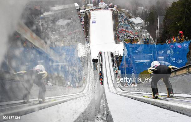 Junshiro Kobayashi of Japan jumps during the ski jumping training round of the third stage at the 66th Four Hills Tournament in Innsbruck Austria on...
