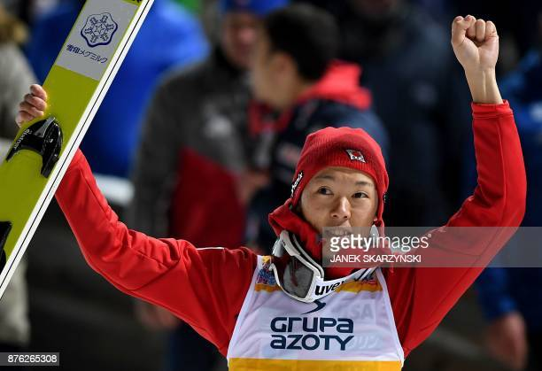 Junshiro Kobayashi of Japan reacts after winning the FIS Ski Jumping World Cup in Wisla, Poland on November 18, 2017. - Kobayashi won the competition.