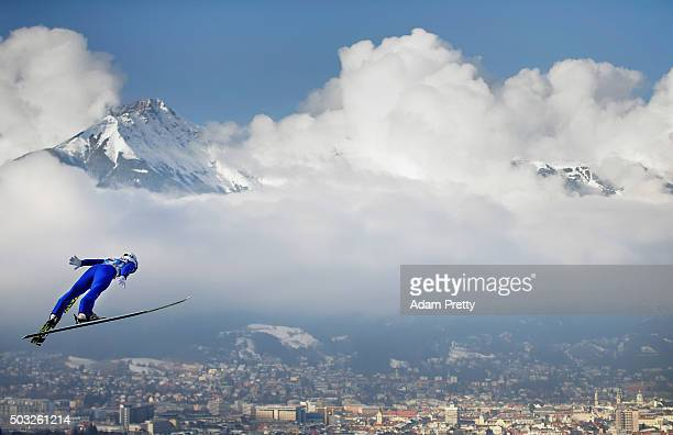 Junshiro Kobayashi of Japan soars through the air during first competition jump on day 2 of the Innsbruck 64th Four Hills Tournament on January 3...