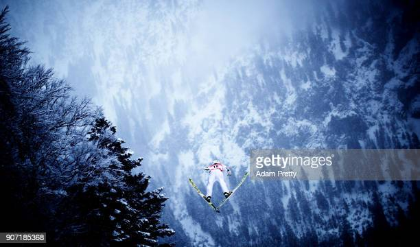 Junshiro Kobayashi of Japan soars through the air during his first competition jump of the Ski Flying World Championships on January 19 2018 in...
