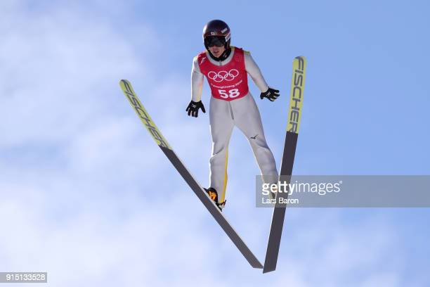 Junshiro Kobayashi of Japan trains for the Men's Normal Hill Ski Jumping ahead of the PyeongChang 2018 Winter Olympic Games at Alpensia Ski Jumping...