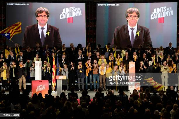 'Junts per Catalonia' JUNTSXCAT grouping candidate for the upcoming Catalan regional election deposed regional president Carles Puigdemont takes part...