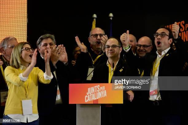 'Junts per Catalonia' JUNTSXCAT grouping candidates Elsa Artadi Eduard Pujol Jordi Turull and deposed Catalan regional government Territory and...