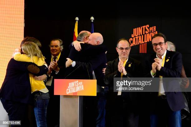 'Junts per Catalonia' JUNTSXCAT grouping candidates Jordi Turull and deposed Catalan regional government Territory and Sustainability chief Josep...