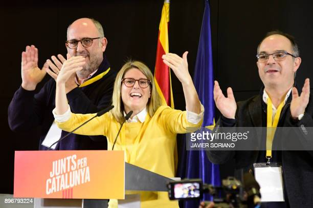 'Junts per Catalonia' JUNTSXCAT grouping candidates Jordi Turull Elsa Artadi and Eduard Pujol give a press conference following the Catalan regional...