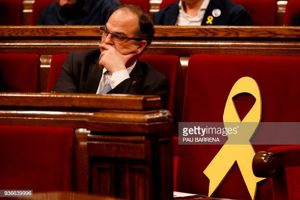'Junts per Catalonia' member of Catalonia's parliament Jordi Turull attends a parliament session in Barcelona on March 22, 2018. - The most radical...