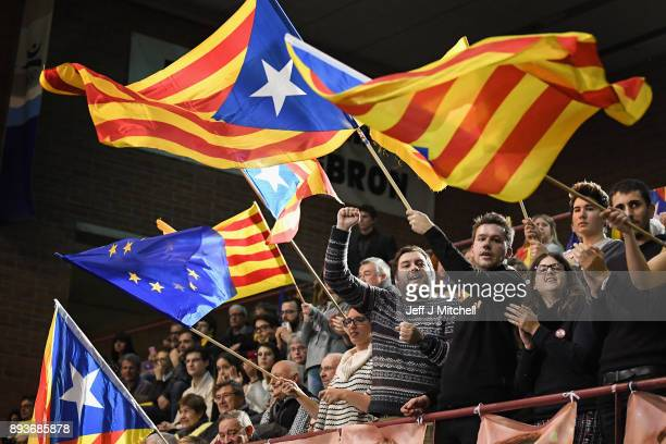 Junts Per Catalunya party activists attend a rally for the forthcoming Catalan election on December 15 2017 in Barcelona Spain Catalonia heads into...