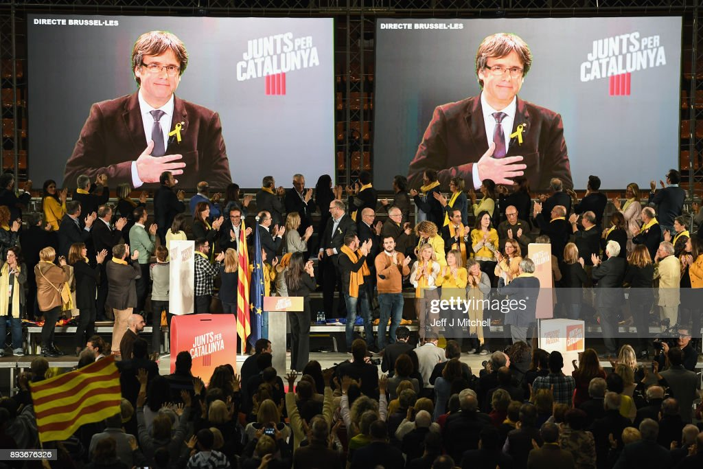 Junts Per Catalunya Hold Campaign Rally In Barcelona