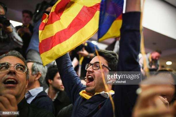 BARCELONA SPAIN DECEMBER Junts Per Catalunya supporters celebrate following the Catalan regional election in on December 21 2017in Barcelona Spain...
