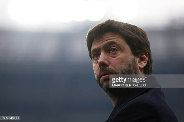 Junventus' chairman Andrea Agnelli looks on during the Italian Serie A football match between Torino and Juventus at the Grande Torino Stadium in...