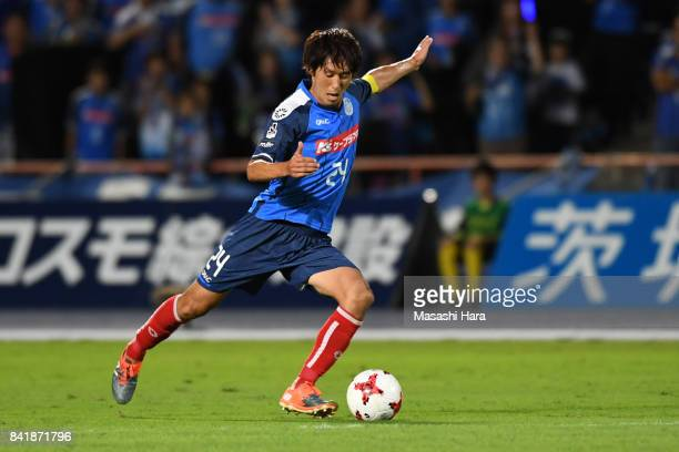 Junya Hosokawa of Mito Hollyhock in action during the JLeague J2 match between Mito Hollyhock and Nagoya Grampus at K's Denki Stadium on September 2...