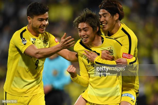 Junya Ito of Kashiwa Reysol celebrates scoring his side's first goal with team mates during the J.League J1 match between Kashiwa Reysol and Vissel...
