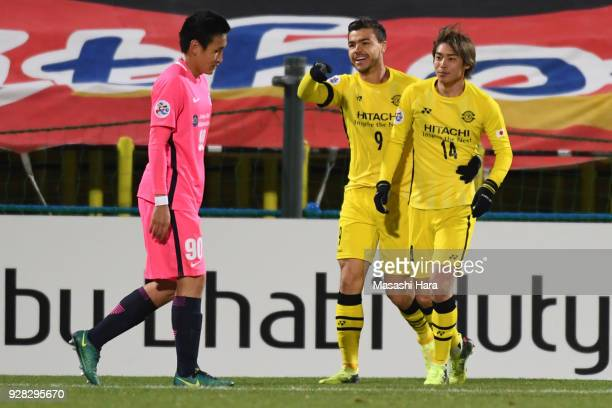 Junya Ito of Kashiwa Reysol celebrates the first goal during the AFC Champions League Group E match between Kashiwa Reysol and Kitchee at Sankyo...