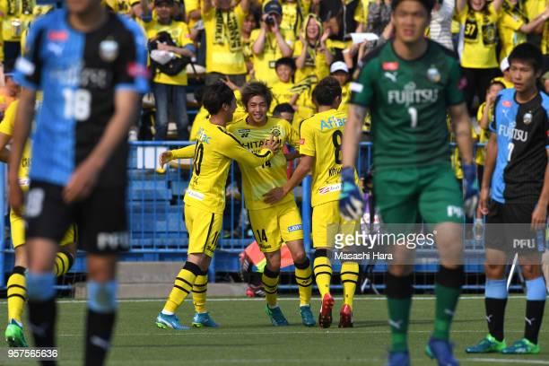 Junya Ito of Kashiwa Reysol celebrates the first goal during the JLeague J1 match between Kashiwa Reysol and Kawasaki Frontale at Sankyo Frontier...
