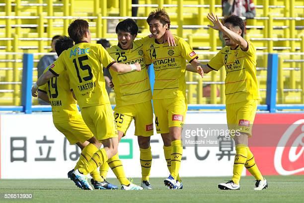 Junya Ito of Kashiwa Reysol celebrates the second goal during the JLeague match between Kashiwa Reysol and Vissel Kobe at the Hitachi Kashiwa soccer...
