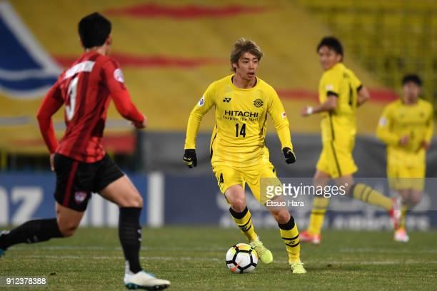 Junya Ito of Kashiwa Reysol controls the ball during the AFC Champions League playoff between Kashiwa Reysol and Muangthong United at Hitachi Kashiwa...