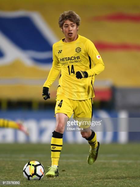 Junya Ito of Kashiwa Reysol in action during the AFC Champions League playoff between Kashiwa Reysol and Muangthong United at Hitachi Kashiwa Soccer...