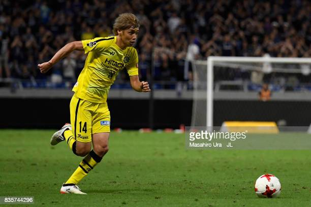 Junya Ito of Kashiwa Reysol in action during the JLeague J1 match between Gamba Osaka and Kashiwa Reysol at Suita City Football Stadium on August 19...