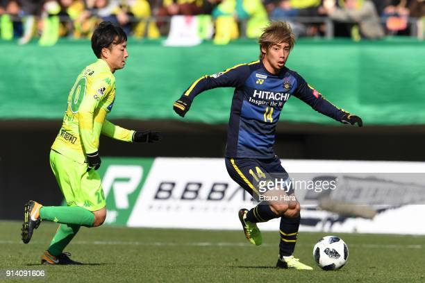 Junya Ito of Kashiwa Reysol in action during the preseason friendly match between JEF United Chiba and Kashiwa Reysol at Fukuda Denshi Arena on...