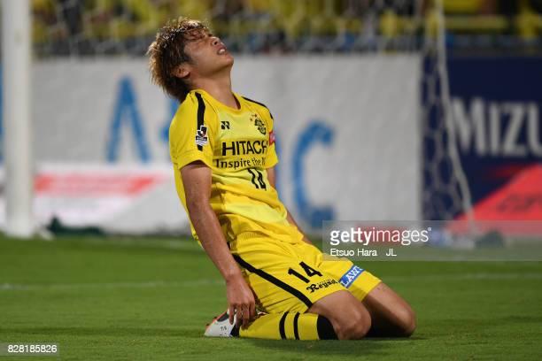 Junya Ito of Kashiwa Reysol reacts during the JLeague J1 match between Kashiwa Reysol and Sagan Tosu at Hitachi Kashiwa Soccer Stadium on August 9...