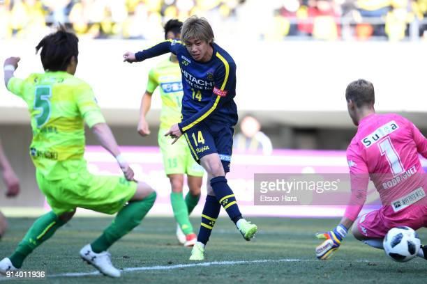 Junya Ito of Kashiwa Reysol scores his side's third goal during the preseason friendly match between JEF United Chiba and Kashiwa Reysol at Fukuda...