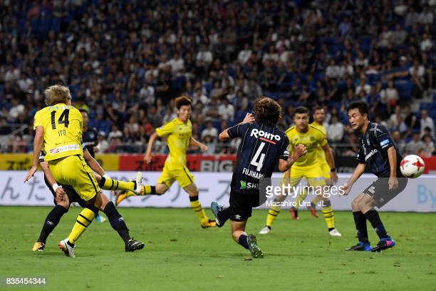 Junya Ito of Kashiwa Reysol scores the opening goal during the JLeague J1 match between Gamba Osaka and Kashiwa Reysol at Suita City Football Stadium...