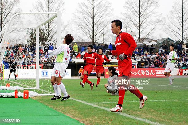 Junya Nitta of Honda FC scores his team's second goal during the 87th Emperor's Cup fifth round match between Honda FC and Nagoya Grampus Eight at...