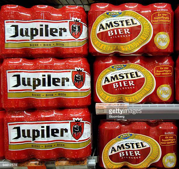 Jupiler beer from Inbev and Amstel beer from Heineken compete for customers on the shelves of the Albert Heijn store in Hoofddorp The Netherlands...