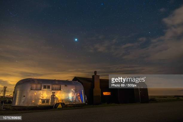Jupiter above Dungeness Rubber House & Airstream