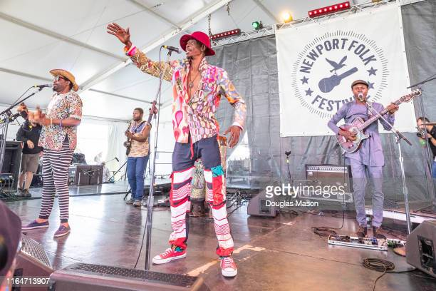Jupiter and Okwess performs during the Newport Folk Festival 2019 the 60th anniversary at Fort Adams State Park on July 27 2019 in Newport Rhode...