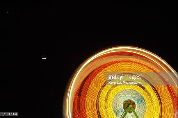 jupiter, moon and ferris wheel - san jose california stock pictures, royalty-free photos & images