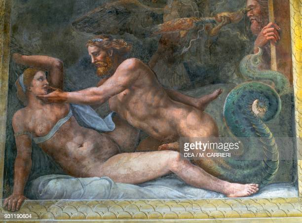 Jupiter seducing Olympias fresco by Giulio Romano east wall of the Chamber of Cupid and Psyche Palazzo Te Mantua Lombardy Italy 16th century